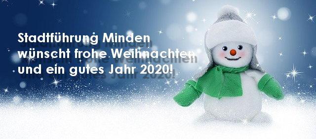Stadtführung Minden mit Gästeführer Hans-Jürgen Amtage wünscht frohe Weihnachten und ein gutes Jahr 2020!